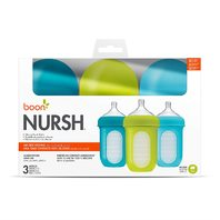 Boon Nursh Reusable Silicone Pouch Baby Bottle, Blue Multi Pack 8 Oz 3 Pk