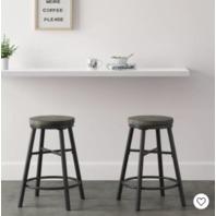 Metal & Wood Seat Counter Stool Black - Room Essentials