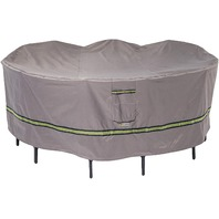 Duck Covers Soteria Waterproof 108 Inch Round Patio Table With Chairs Cover