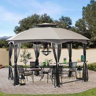 Sunjoy Ashton 11 X 14 Ft. 2-Tone Hexagon Steel Gazebo, 2-Tier Dome Roof, Gray
