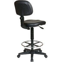 Office Star Vinyl Seat Drafting Chair With Adjustable Chrome Foot Ring, Black