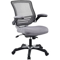 Modway Edge Mesh Back And Seat Office Chair In Black With Flip-Up Arms In Gray
