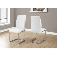 Monarch Specialties 2 Piece Dining Chair White Leather-Look/Chrome