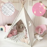 Kids-Teepee with Mat & Lights & Carry Case  White Canvas