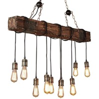 10-Lights Wooden Retro Rustic Light - Can Be Adjusted Freely