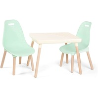 B. Spaces By Battat Kids Furniture Set 1 Craft Table & 2 Kids Chairs Ivory-Mint