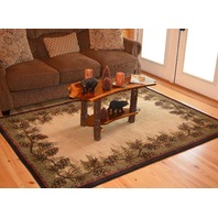 Mayberry Rugs Rustic Lodge Pine Cone Border Brown 9x12 Area Rug