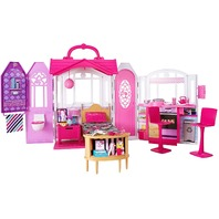 Barbie Glam Getaway Portable Dollhouse, 1 Story with Furniture, Accessories