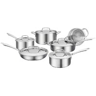 CUISINART 89T-11HC Professional Series 11 Piece Tri-Ply Cookware Set, Silver