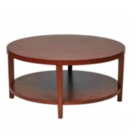 Merge 36 in. Cherry Medium Round Wood Coffee Table with Shelf