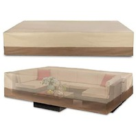 """Patio Covers Large Patio Sectional Sofa Size 125"""" X 70"""" X 30"""" , Beige & Brown"""