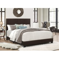Queen Faux Leather Platform Bed Frame Mattress Foundation, Brown