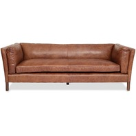 Mid Century Modern Couch - Top Grain Brazilian Leather - Cognac Brown