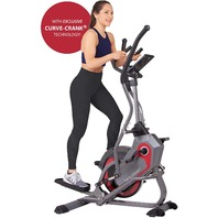 Body Power 2-in-1 Elliptical Stepper Trainer with Curve-Crank Technology, Gray