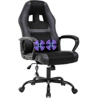Gaming Chair Office Ergonomic Desk Chair Adjustable PU Leather (Black)