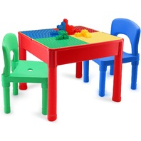Kids Activity Table And Chair Set - 3 In 1 - Water Table, Building Block Table