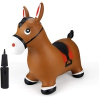 Horse Hopper- Brown Inflatable Jumping Horse, (Pump Included)