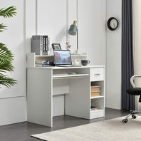 Rockpoint Axess Desk With Keyboard Tray, White