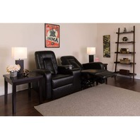 Flash Furniture 2-Seat Reclining Black Leathersoft Theater Seating Unit