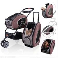 Ibiyaya Multifunction Pet Stroller 5 In 1 Brown stroller carrier trolley car