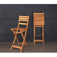 Interbuild Sofia Bar Chair|golden Teak Finish| Foldable | 2-piece Set