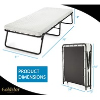 Gold Star Rollaway Guest Folding Bed, Cot with 31 inch Foam Mattress