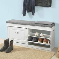 SoBuy FSR64-W,Hallway Shoe Bench,Shoe Cabinet with Flip-Drawer and Seat Cushion
