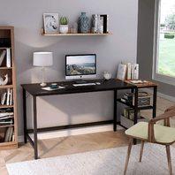 CubiCubi Computer Home Office Desk, 55 Inch Black/Walnut (READ)