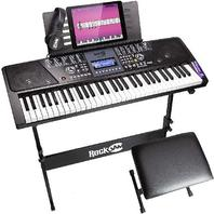 RockJam RJ561-SK 61 Key LCD Display Electronic Keyboard Piano Super kit Black