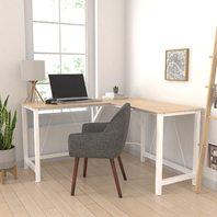 Amazon Basics L-Shape Office Corner Desk, 55-Inch, Natural