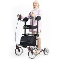 "Oasisspace Rollator Walker,10"" Front Wheels Backrest Seat Padded Armrests Gray"