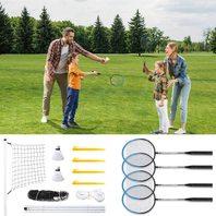 Outdoor Badminton Set Of 4, Badminton Net System And Shuttlecock