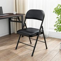 Black Folding Chairs With Padded Seats 200 Lbs Weight Capacity