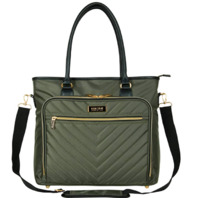 """Kenneth Cole Reaction Chelsea Chevron 15"""" Laptop & Tablet Business Tote Olive"""