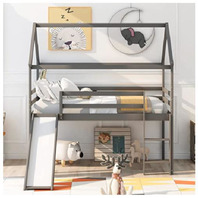 Harper & Bright Designs Loft Bed, Twin Loft Bed with Slide and Ladder, Grey
