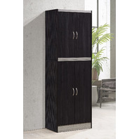 Hodedah 4 Door Kitchen Pantry With Four Shelves, Chocolate