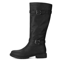 Size 7 M Allegra K Womens Buckle Strap Knee High Riding Boot Black