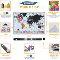Scratch Off World Map With Tags & Pins | Premium Travel Tracker Wall Poster With
