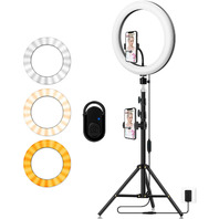 """Photography 14"""" Dimmable LED Circle Light With Tripod Holder With Phone Holder"""