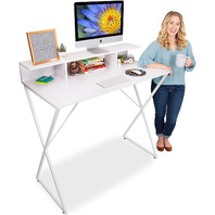 Modern Home Office Standing Desk Workstation with Storage Cubbies