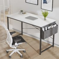 Cubiker 47 inch Computer Home Office Writing Study Desk, with Storage Bag, White