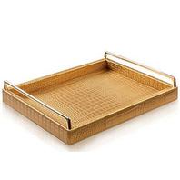 ELOCRAFT Decorative Tray PU Leather Tray - Gold