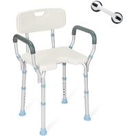 Oasisspace Heavy Duty Bathtub Chair,  Back And Arms 300lb, Free Assist Grab Bar