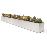 Buhbo Modern Trough Rectangle Planter 32 Inch Brushed Stainless Steel Silver