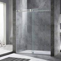WoodBridge Framelss Sliding Shower Door 9.5mm Brushed Nickel Finish
