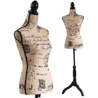 Female Dress Form Mannequin Torso Tripod Stand Monogram Style Durable Brown