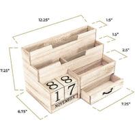 Wooden Mail Organizer Desktop With Block Calendar – Mail Sorter Countertop – For