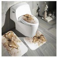 Butterfly Bath  Mat / Shower Curtain  / Carpet Rugs Set Non-slip