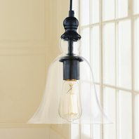 Winsoon Ecopower 1 Light Vintage Hanging Big Bell Glass Shade Ceiling Lamp