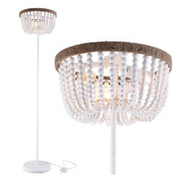 VILUXY Boho Floor Lamp with White Wood Beaded Shade 3-Light